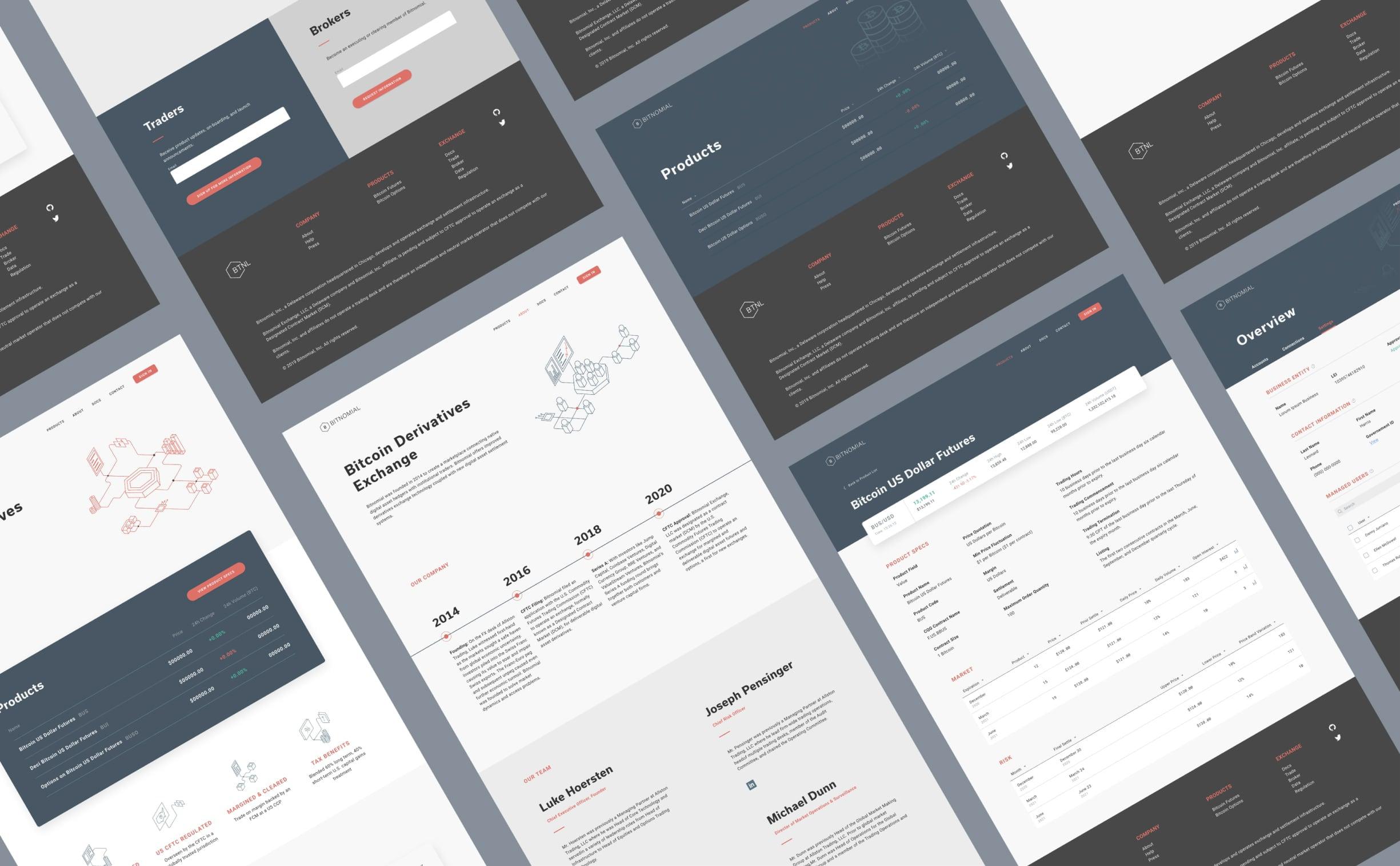 Bitnomial desktop web design